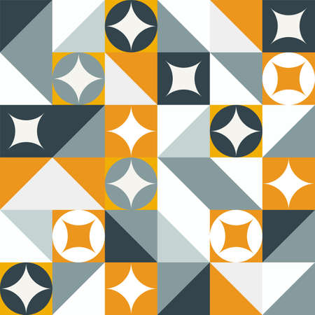 Geometric modern pattern with warm colors. Triangle and squared figures. Trendy background.