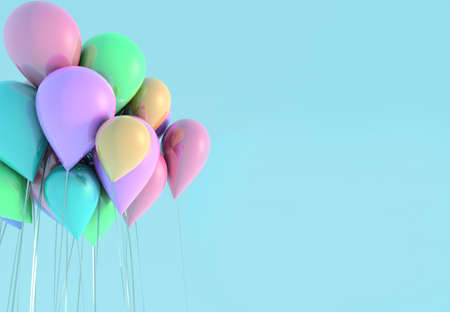 Set of colored glossy balloons on blue sky background. 3D render for birthday, party, wedding or promotion banners or posters. Vivid and realistic illustration.