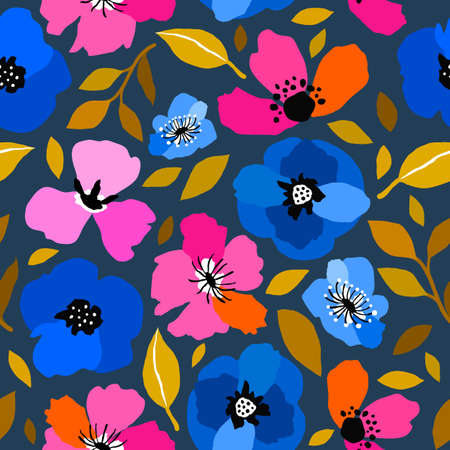 Seamless pattern with creative decorative flowers in blue, orange and pink trendy colors.