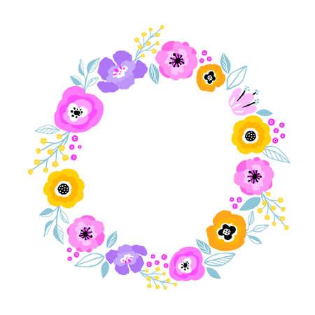 Vector flower frame. Beautiful wreath. Elegant leaves and flowers, hand drawn digital design.