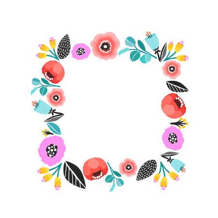 Vector flower frame. Beautiful floral squared frame. Elegant leaves and flowers, hand drawn digital design.