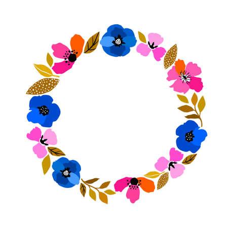 Vector flower frame. Beautiful wreath. Elegant leaves and flowers, hand drawn digital design. Design for invitation, wedding or greeting cards.