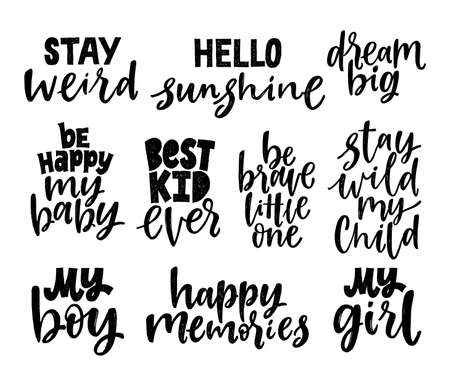 Set of nursery quotes. Hand written lettering phrases. Black and white Motivational Quotes. Stock Illustratie