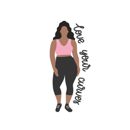 Brunette nice plump woman with curvy body, girl in a trendy fashion sportive clothes, flat vector illustration. Fullsize body silhouette. Pretty black woman in black pants and pink top. White background. lettering - Love your curves.