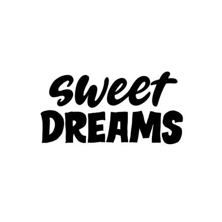 Sweet dreams. Creative lettering postcard. Calligraphy inspiration graphic design, typography element. Hand written postcard. White background. Nursery poster.