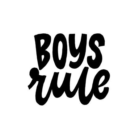 Boys Rule. Creative lettering postcard. Calligraphy inspiration graphic design, typography element. Hand written postcard. White background. Stock Illustratie