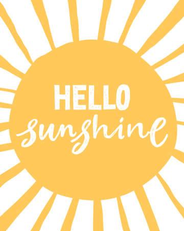 Hello Sunshine. Unique hand written lettering phrase. Creative lettering postcard. Calligraphy inspiration graphic design, typography element. Hand written postcard.