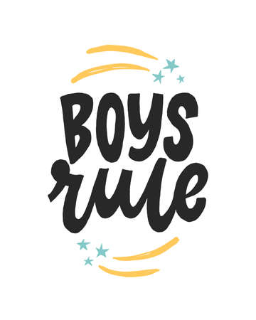 Boys Rule. Creative lettering postcard. Calligraphy inspiration graphic design, typography element. Hand written postcard.