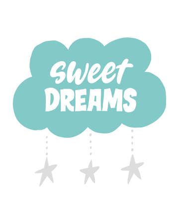 Sweet dreams. Vector hand written lettering quote. Unique hand written lettering phrase. Creative lettering postcard. Calligraphy inspiration graphic design, typography element.