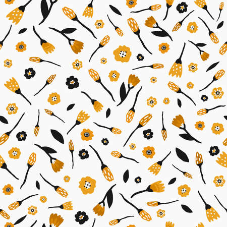 Seamless pattern with flowers and leaves in black and yellow color on white background. Hand drawn fabric, gift wrap, wall art design. Stock Illustratie