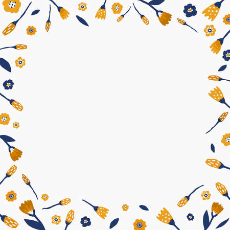 Squared border with hand drawn graphic flowers. Flower frame for text. Flower background.