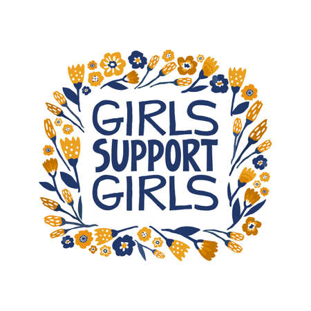 Girls support girls - hand drawn lettering quote. Feminism quote made in vector. Woman motivational slogan. Inscription for t shirts, posters, cards.