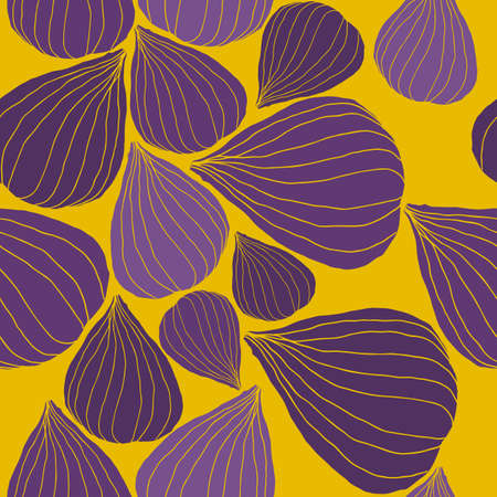 Seamless Vector Pattern with Fig in graphic stylization. Piml and yellow trendy colors. Cute vector background. Stock Illustratie