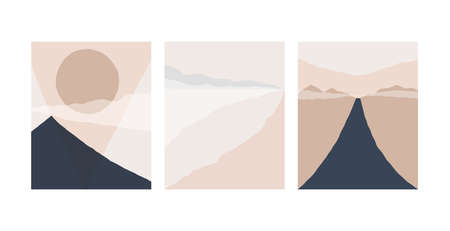 Set of abstract landscape background. Silhouette of mountain sky and sun geometric composition. Poster of landscape in beige. taupe and navy trendy colors.