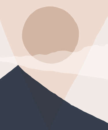 Abstract landscape background. Silhouette of mountain sky and sun geometric composition. Poster of landscape in beige. taupe and navy trendy colors.