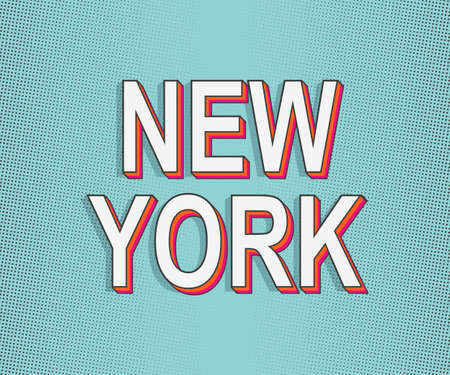 New York. America Travel Card. Lettering Greeting card. Modern Pop Art Typography. Grunge dots effects. Trendy orange, pink color with bright green blue color typography. Stock Illustratie