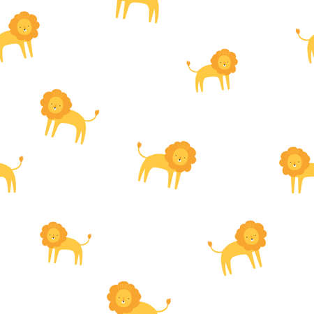 Cute lion yellow and white seamless pattern. Vector hand drawn illustration. Nursery background for kids room, clothes or paper design.