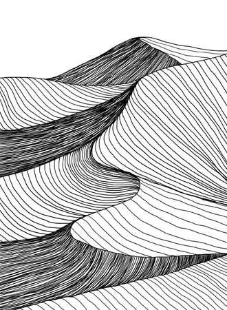 Abstract desert sahara landscape. Line art hand drawn illustration. Desert landscape view. Sand dunes line drawing vector. Black and white mountain view, summer poster design. Summer holidays art work.