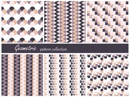 nuptial: Collection of six geometric patterns. Beige colors. Can be used as wrapping paper. Illustration