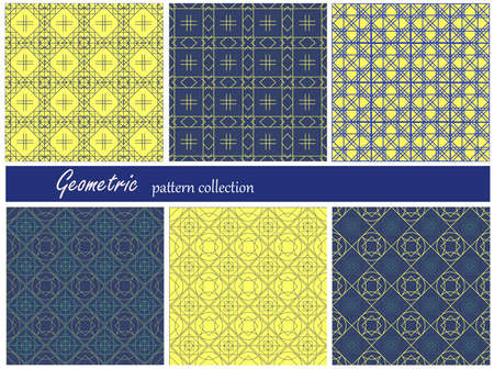 santorini: Collection of seamless patterns. Blue and white colors. Santorini island colors.