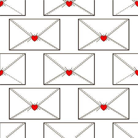 mail me: Letters pattern with heart. Minimum points Illustration