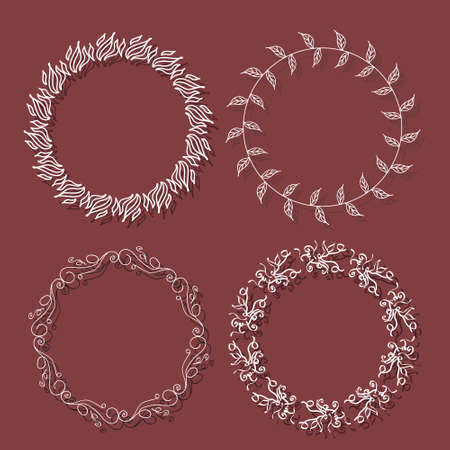 texturized: Romantic wreath with copyspace for your text ,Collection of clip art vector bouquets.