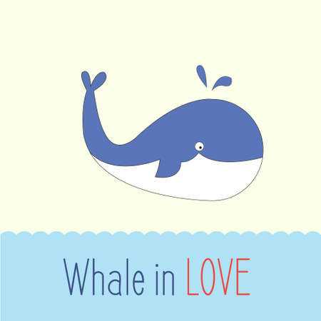 enormous: Whale in love with hearts and text, ideal for Valentines Day, baby show, save the date, wedding