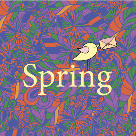 april beautiful: Spring hand lettering and doodles elements. Vector illustration with Illustration