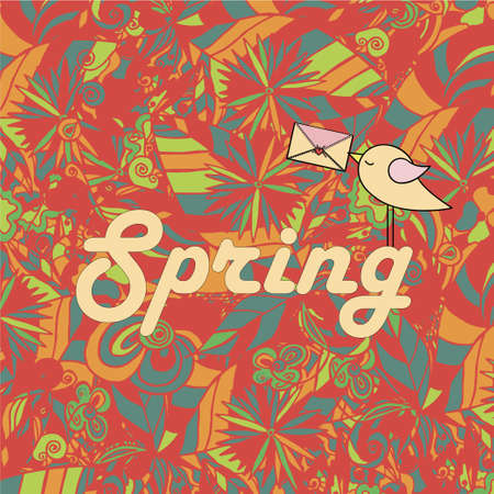 seasonal greeting: Word Spring in doodle style with a bird. Vector illustration. Seasonal greeting card Illustration