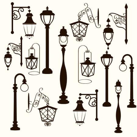 nostalgia: retro and modern street lanterns, vector illustration