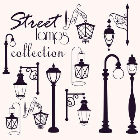 streetlamp: retro and modern street lanterns, vector illustration