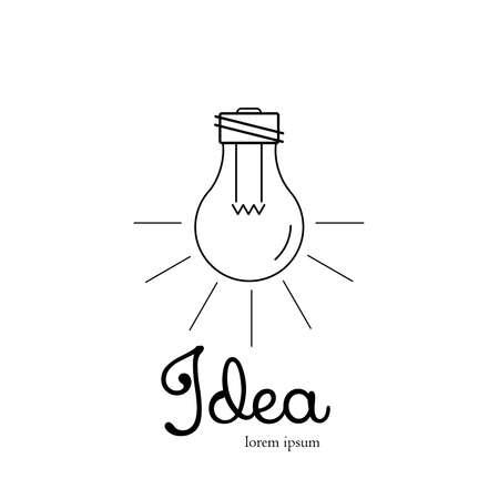 advertising agency: Light bulb icon, lamp shine creative innovation sign, web development, advertising, design agency emblem, idea power technology mark Illustration