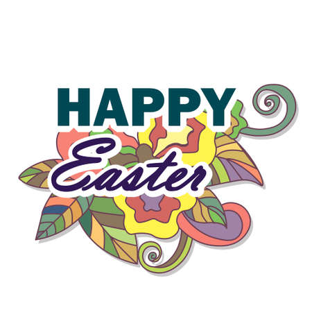 separated: Cartoon vector hand drawn Doodle Happy Easter illustration. Colorful detailed design background with objects and symbols. All objects are separated