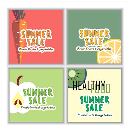 greens: Summer sale design. Beautiful freehand colorful illustration with fruits, flowers and greens for sale poster, sale banner, sale flyer. Illustration