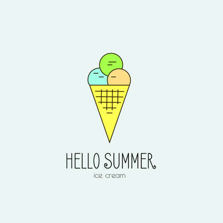 notebook page: Vector set of bright summer cards. Beautiful summer posters with lemonade, ice cream, cocktail and phrases Hello Summer Illustration