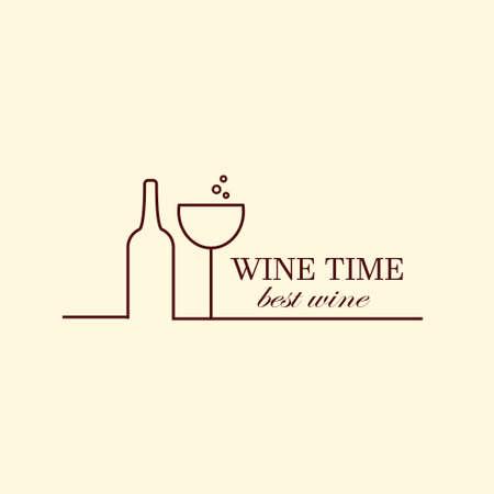 Vector Weinrebe Und Weinflaschen, Negative Raum-Design-Vorlage ...