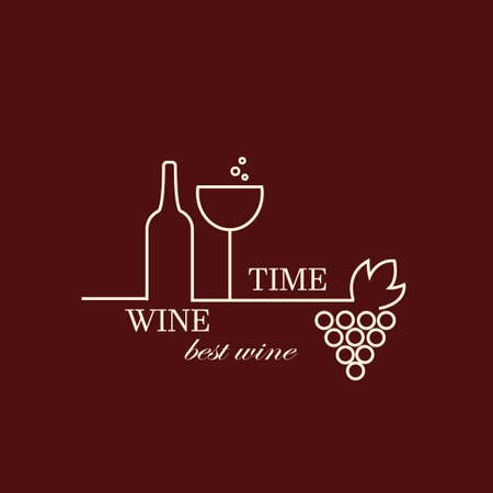 wine grapes: Vector grape vine and wine bottles, negative space  design template. Colorful trendy illustration. Concept for wine list, bar menu, alcohol drinks, wine label. Illustration