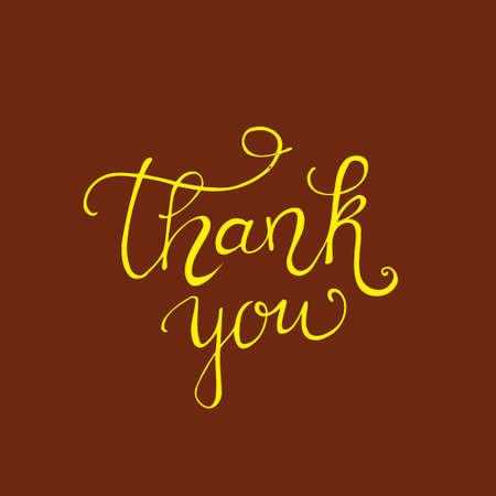 caes: Thank you golden lettering design. vector illustration Vectores