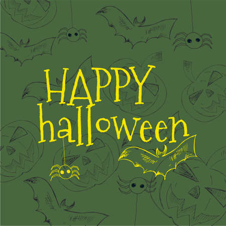 autumn background: Happy Halloween vector lettering. Holiday calligraphy with spider and web for banner, poster, greeting card, party invitation. Isolated illustration.