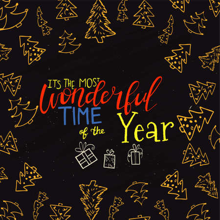 Merry Christmas Lettering Design . The most wanderful time of the year lettering Illustration