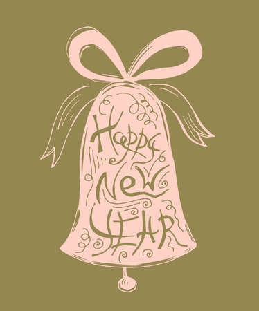 A Christmas bell with Lettering Design of Happy New Year. In pink and gold colors. Illustration