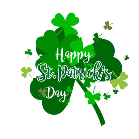 Vector abstract logo for St. Patricks Day on Shamrock background, irish Clover composition with label saint patrick day on shamrock leaf pattern backdrop