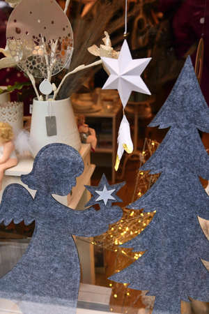 Christmas decorations in the shop window. 写真素材