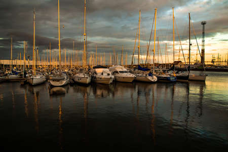 Port Stralsund, yacht parking in the evening Редакционное