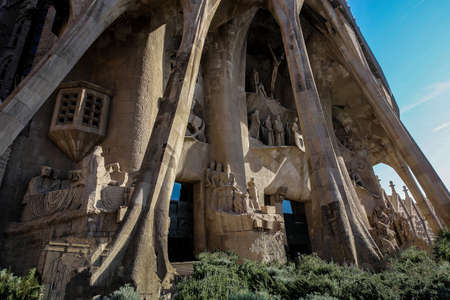 Barcelona, Spain,November 14, 2017.  Basilica Redemptive Temple of the Holy family Sagrada by Gaudi