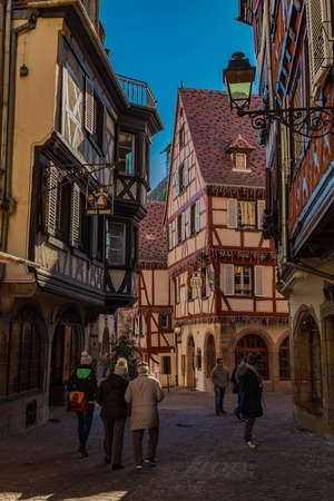 Colmar, Alsace, France, February 24, 2019. Cozy spring day Редакционное