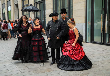 Leipzig, Germany, Juny 9, 2019. Gothic costumes at the street Фото со стока - 133911968