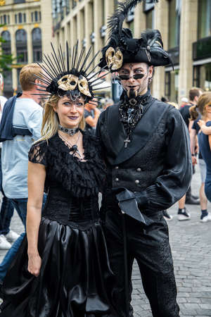 Leipzig, Germany, Juny 9, 2019. Gothic and steampunk costumes at the street Фото со стока - 133911972