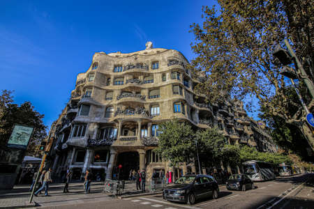 BARCELONA, SPAIN - MAY 22: Casa Milla, details of the facade of the house made by the architect Antonio Gaudi May 22, 2016 in Barcelona, Spain Редакционное