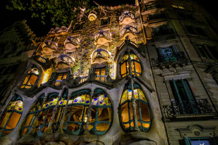 Barcelona, Spain. November 14, 2017. House Batllo, Casa Batllo at the evening from the roof low angel shoot Фото со стока - 133912118